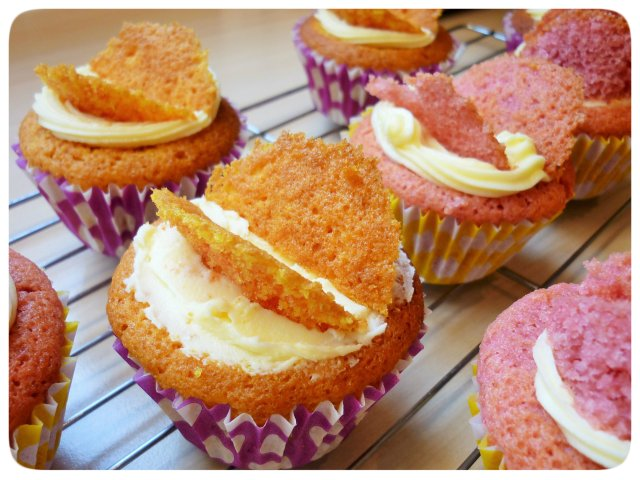 Pink and yellow butterfly cupcakes