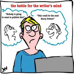 The Battle for the Writer's Mind Cartoon