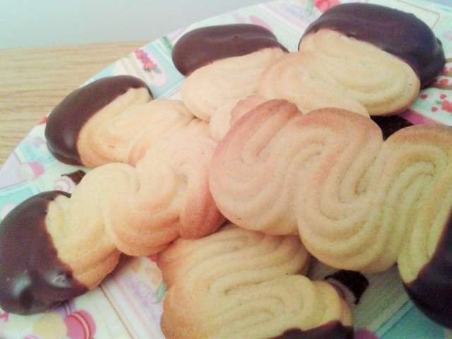Viennese finger biscuits finished close up