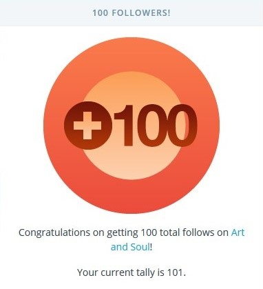 100 followers WordPress Art and Soul 24 June 2015