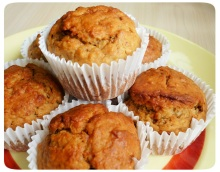 Banana and peanut butter muffins stack
