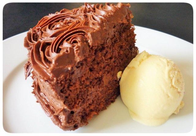 Chocolate fudge cake with chocolate buttercream and raspberry ripple ice cream
