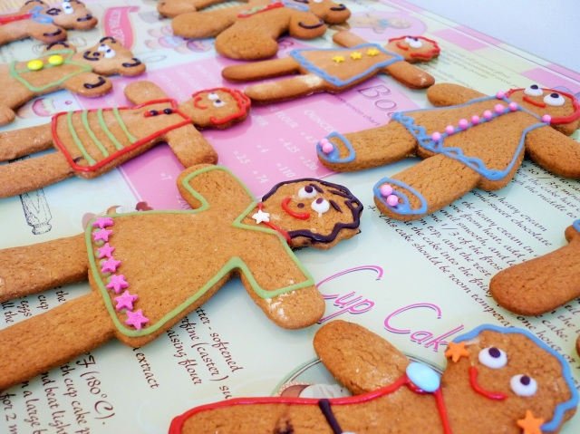 Gingerbread women decorated with icing