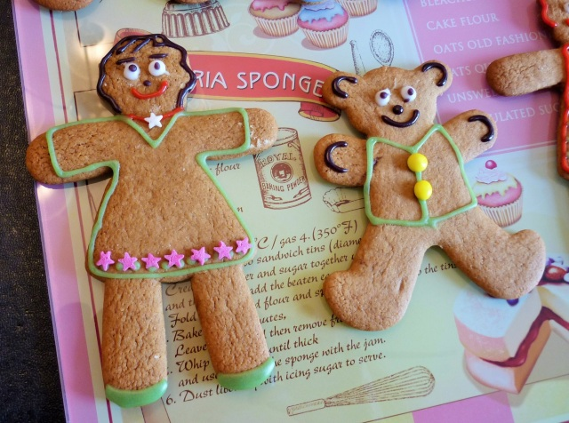 Gingerbread women men bear decorated with icing