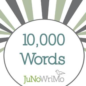 JuNoWriMo 2015 10000 words milestone button graphic
