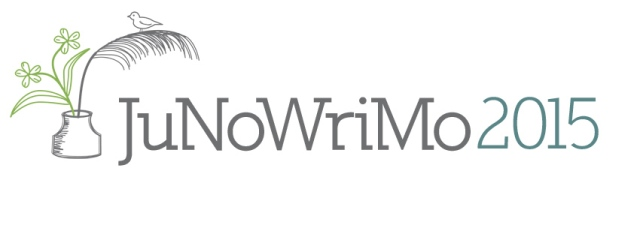 JuNoWriMo 2015 inkwell quill flower and bird logo button