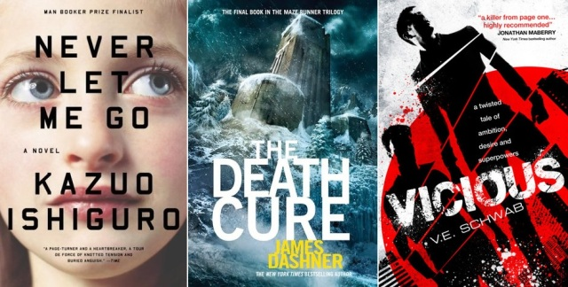 Never Let Me Go by Kazuo Ishiguro The Death Cure by James Dashner Vicious VE Schwab book covers