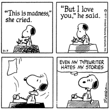 Snoopy peanuts cartoon even typwriter hates stories
