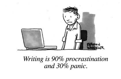 cartoon writing-procrastination-and-panic shannon wheeler
