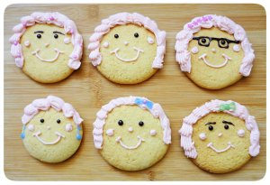 Caramel biscuits cookies face decoration with crimped piping buttercream hair