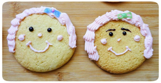 Caramel biscuits cookies face decoration with crimped piping buttercream hair 3