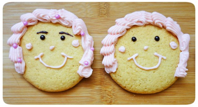 Caramel biscuits cookies face decoration with crimped piping buttercream hair 4
