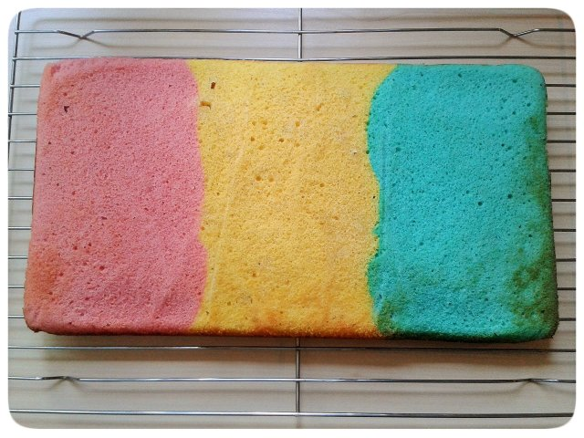 Three colours cake pink yellow blue sponge