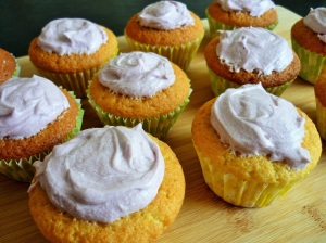 Vanilla cupcakes with buttercream mounds