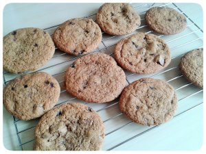 Choc chip cookies on cooling rack