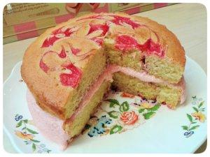 Raspberry ripple sandwich cake cut