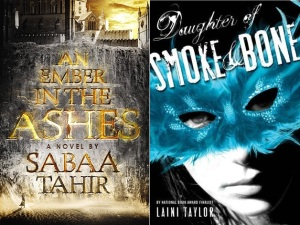 An Ember in the Ashes book 1 by Sabaa Tahir and Daughter of Smoke and Bone by Laini Taylor