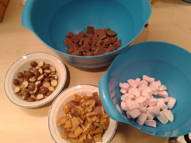 Ingredients for maltesers rocky road chocolate, biscuit, marshmallows recipe