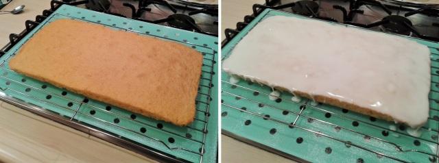 Lemon sponge cake freshly baked and iced