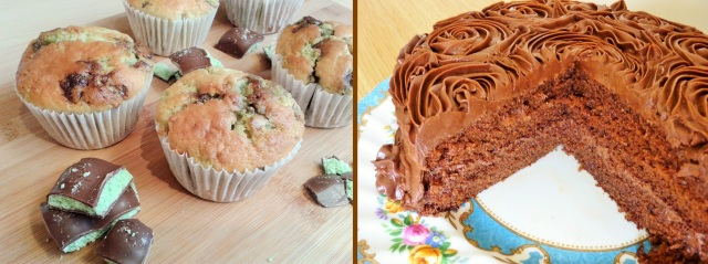 Mint chocolate muffins and chocolate fudge cake