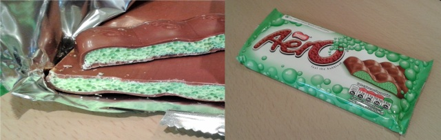 What mint aero chocolate looks like green inside