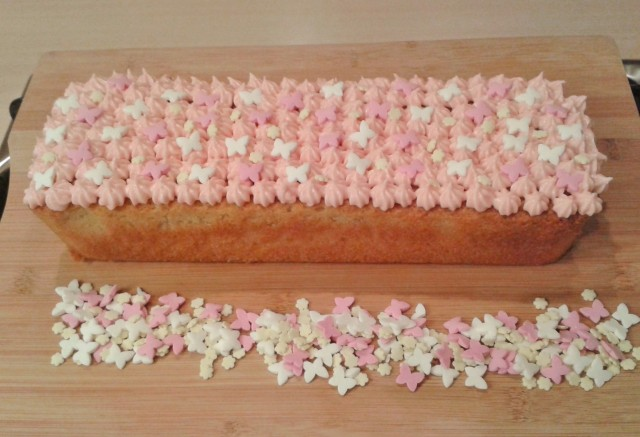 Yoghurt cake yogurt cake with star piping buttercream icing and sprinkles