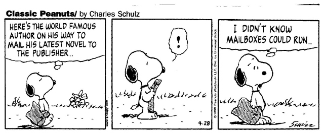 Cartoon snoopy peanuts author writing problems