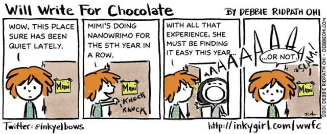 nanowrimo cartoon funny will write for chocolate @inkyelbows 2