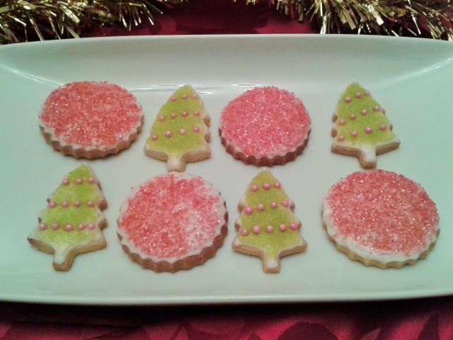 Christmas biscuits cookies trees and red sparkle circles