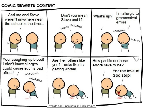 Comic rewrite contest cartoon cyanide and happiness allergic to grammatical errors