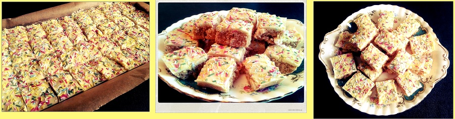 Diane's delights white chocolate no bake tray bake with biscuit and sprinkles