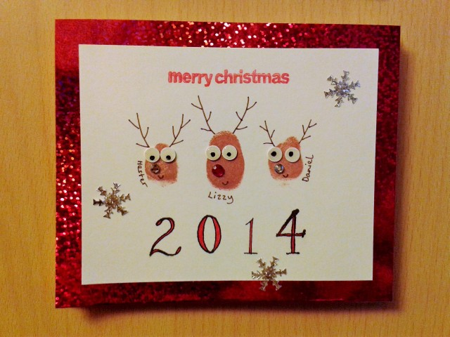 Merry Christmas children thumbprint reindeer card handmade