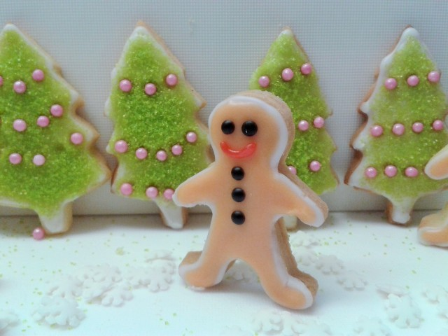 Mini Gingerbread men biscuits cookies and Christmas tree cookies