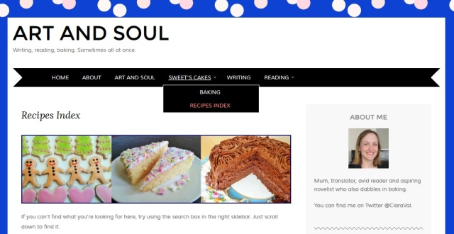 Screengrab of new Art and Soul recipe index page cakes muffins brownies biscuits cookies and desserts with links
