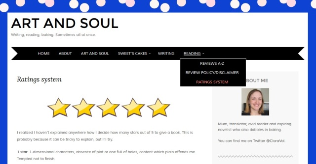 Screengrab of new Reading pages at Art and Soul Reviews A to Z review policy and disclaimer and ratings system