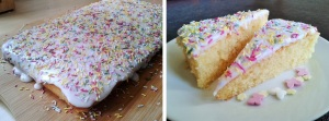 Simple sponge school cake with white water icing and multi-coloured sprinkles