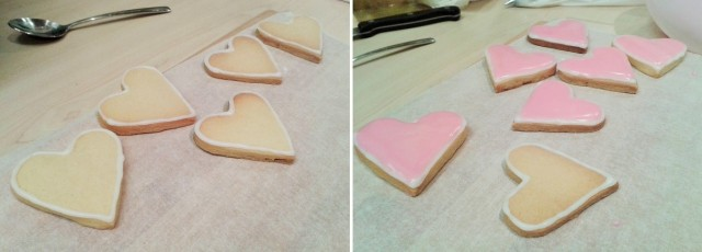 White icing outline border on heart biscuit cookie decoration and flood icing