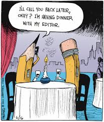 Editor writing cartoon