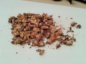 Finely chopped snickers bars