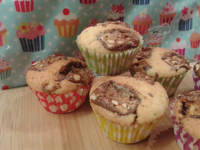 Freshly baked snickers muffins without