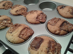 Freshly baked snickers muffins
