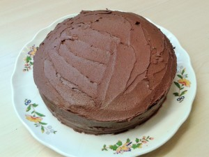 Heavenly chocolate cake with fudge frosting before decoration