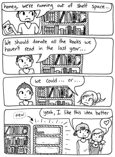 Running out of space for books get new shelves bookish problems cartoon