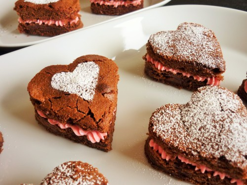 Caramel chocolate brownies heart shaped for Valentine's day with strawberry pink buttercream 4