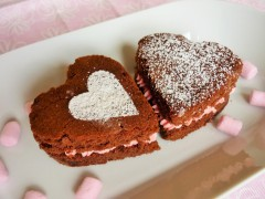Caramel chocolate brownies heart shaped for Valentine's day with strawberry pink buttercream 5
