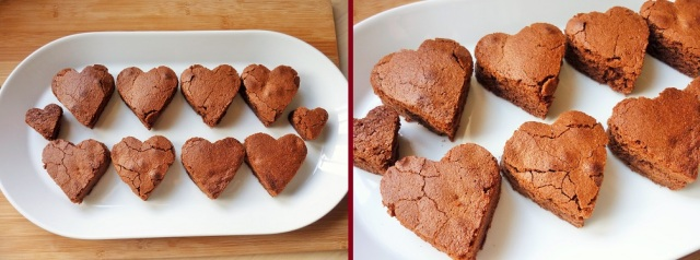 Caramel chocolate brownies heart shaped Valentine's day before decoration