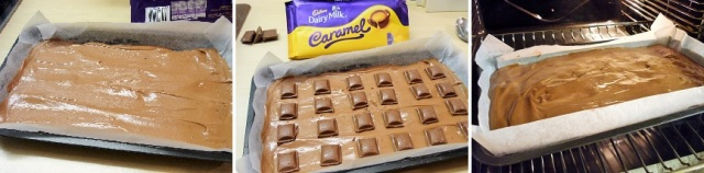 Chocolate Caramel brownies with Cadbury's caramel baking stages