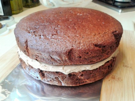 Two layer sandwich with chocolate buttercream filling