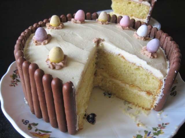 Chocolate finger cake with biscuit border around the edges and mini eggs 2