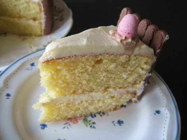 Chocolate finger cake with biscuit border around the edges and mini eggs 3